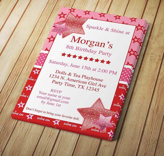 DIY Sparkle \ Shine Star - American Birthday Girl - Editable - invitation template microsoft word