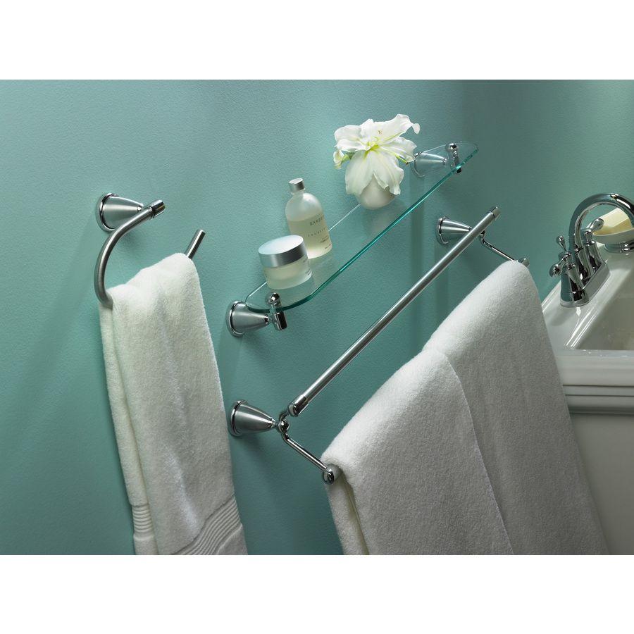 Shop Style Selections Brushed Chrome and Chrome Glass Bathroom Shelf ...