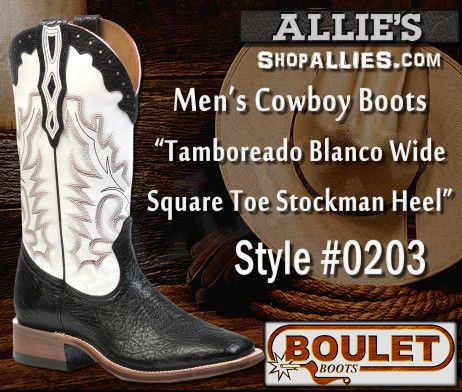 Boulet Cowboy Boots 0203 come in Black Taurus genuine leather and feature Western stitching on the shaft and foot for extra style. - See more at: http://shopallies.com/shop/boulet-cowboy-boots-0203-tamboreado-blanco/#sthash.Gukuh5jO.dpuf #cowboyboots