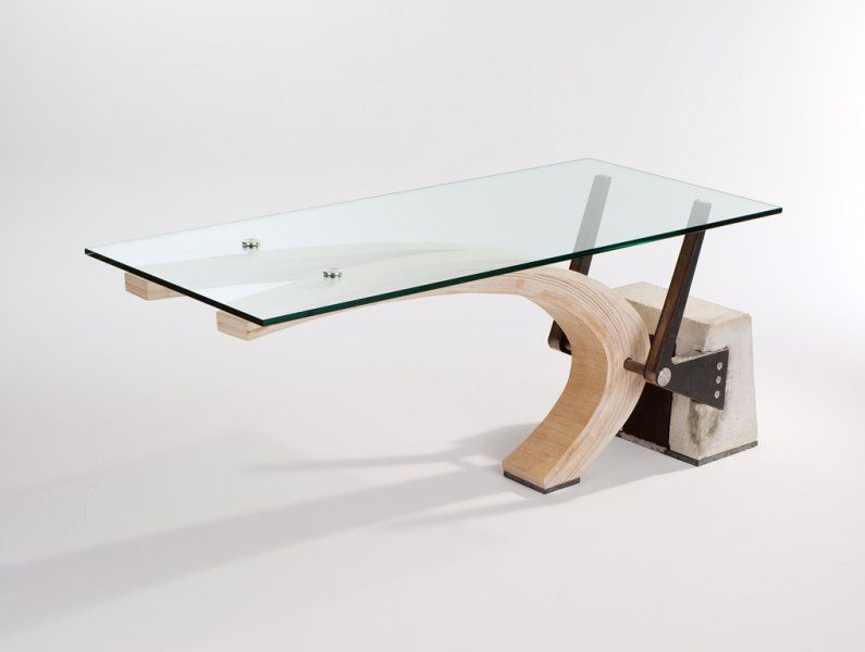 Laminated Plywood Cantilever Desk Concrete And Steel Are The Counterweight And Base Table Base Design Furniture Design Modern Custom Furniture Design