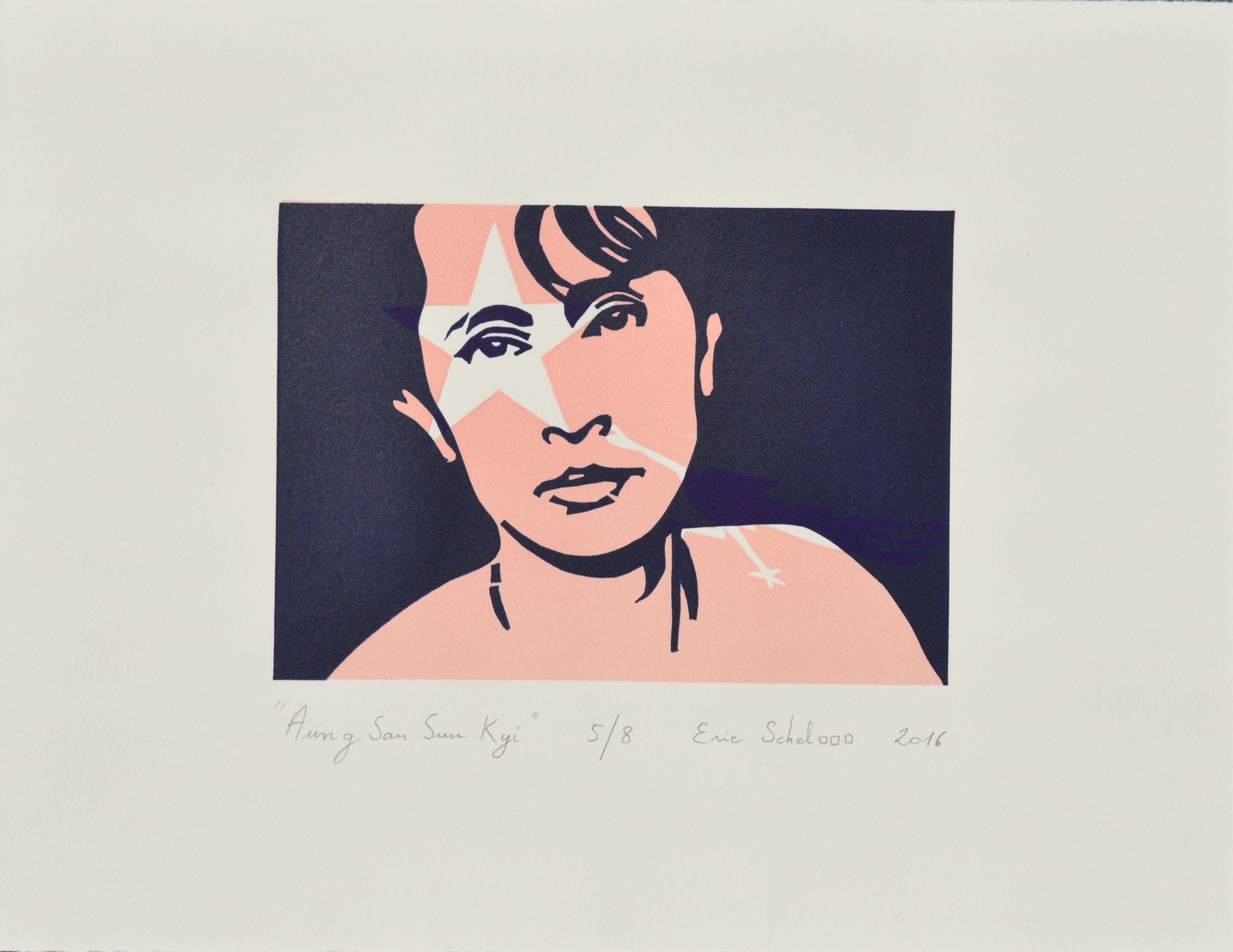 """""""Aung San Suu Kyi"""", linogravure réalisée par Eric Schelstraete en huit exemplaires, 2016. Un portrait de la dame de Rangoon, en hommage à son courage politique..."""