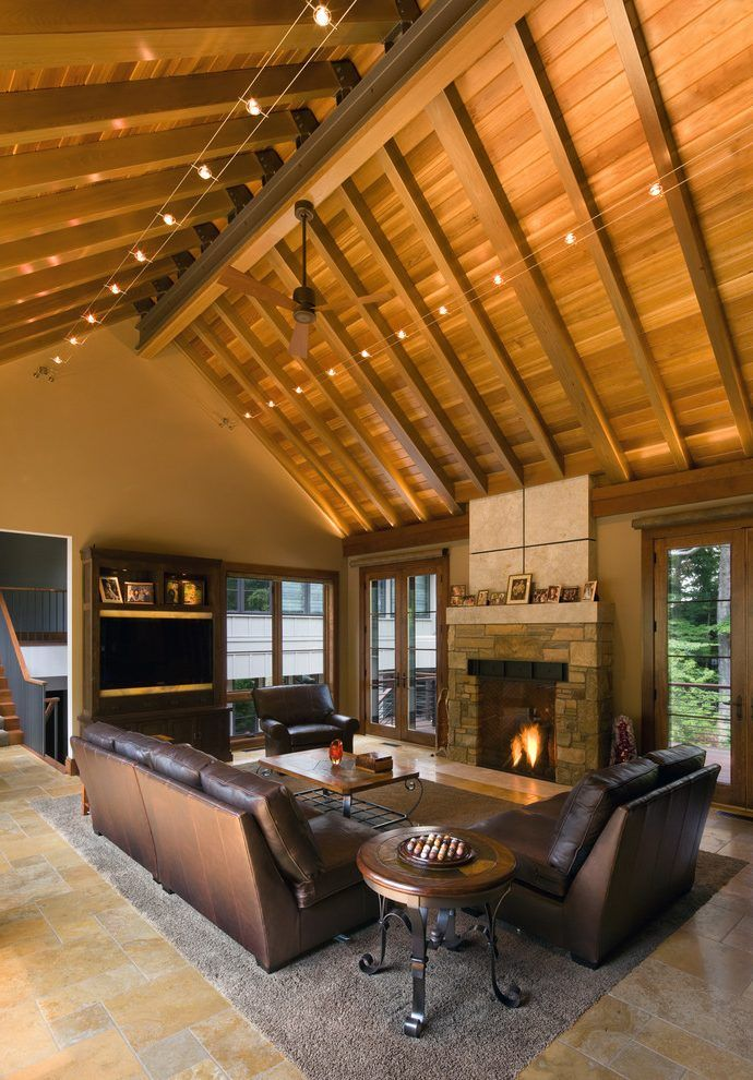Cathedral ceiling lighting living room rustic with cable lighting ...
