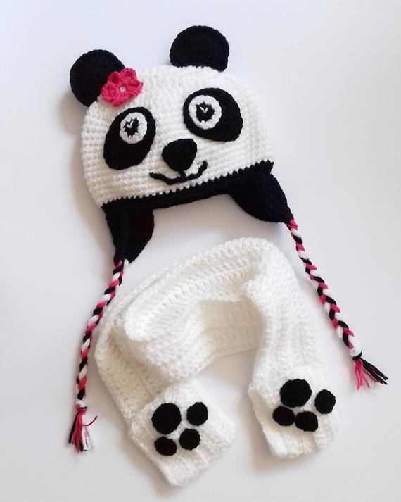 758e93d06ff Panda hat Baby hat Funny kids hat Christmas photo prop Baby beanie Crochet  hat Winter hat Made to or