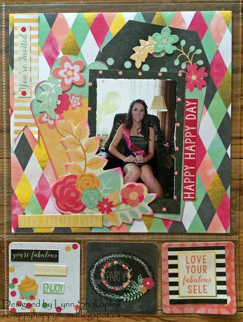 HappyHappy Day Misc.Me layout by Lynn Shokoples for BoBunny featuring the You're Invited Collection. #BoBunny @scrappyhappymom