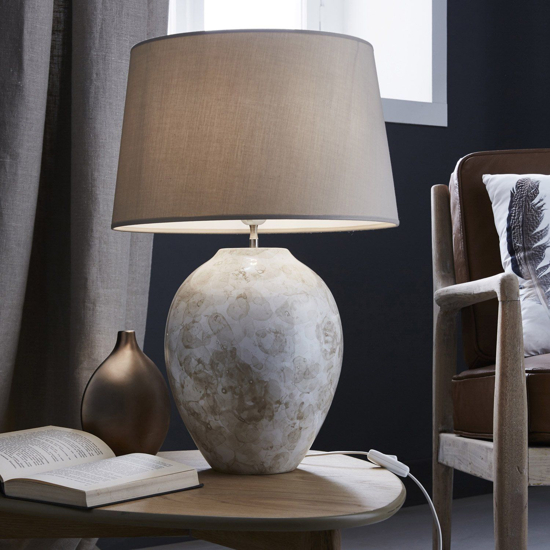 lampe vila vicosa coton taupe 60 w leroy merlin d co. Black Bedroom Furniture Sets. Home Design Ideas