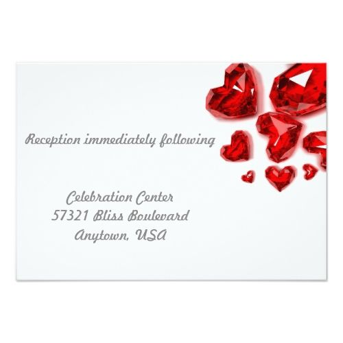 Valentine\u0027s Day Wedding Invitation Red Jewel Hearts Valentine