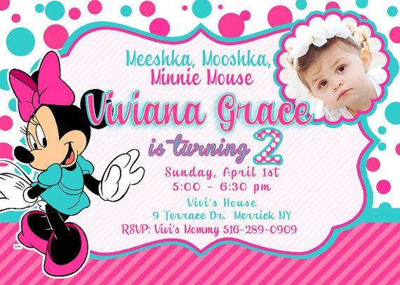 CUSTOM PHOTO  Minnie Mouse  InvitationYou by VIVICoutureDesigns, $12.00
