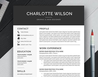 Resume Templatecv Template Wordcover Lettertwo Page  Career