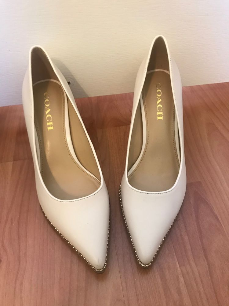 e35cf9ba898 Coach white vonna Heels size 7.5 classy leather  fashion  clothing  shoes   accessories  womensshoes  heels (ebay link)