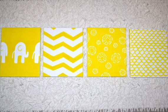 Yellow Gray Baby Nursery Wall Art Chevron by BellaBambiniDecor ...