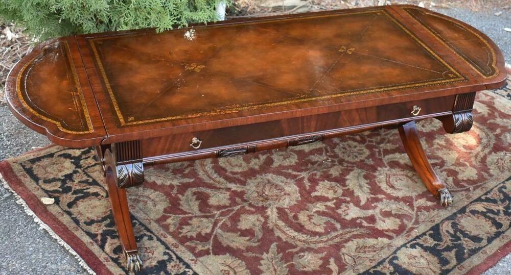 1910 Antique Weiman English Regency Mahogany Drop Leaf Coffee Table Leather Top Coffee Table Leather Top Coffee Table Coffee Table Vintage