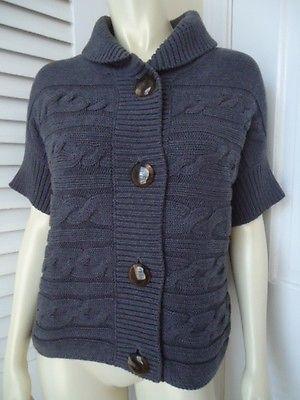 TALBOTS PETITES Sweater LP Cotton Boxy Bulky Gray Cardigan MOD RETRO CHIC 7a90c0b46
