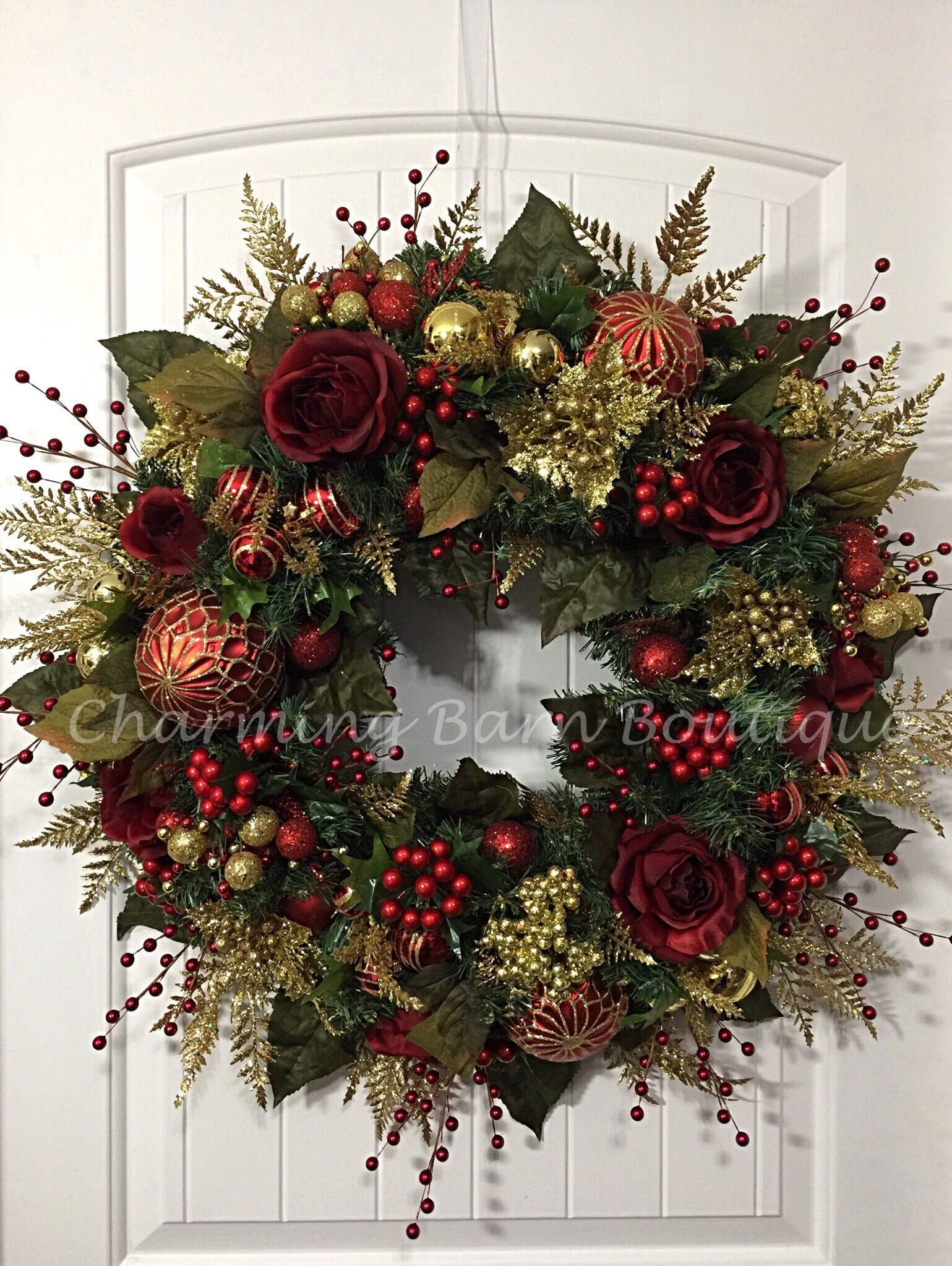 Christmas Wreath Winter Wreath Elegant Christmas Holiday Wreath Evergreen Wreath Red And Gold Wreath Holiday Decor Christmas Decor Christmas Wreaths Christmas Decorations Holiday Wreaths