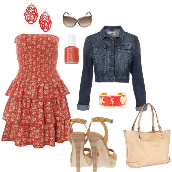 floral dress/denim