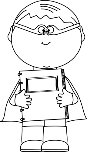 Black And White Boy Superhero With A Notebook Clip Art Black And White Boy Superhero With A Notebook Im Superhero Superhero Coloring Pages Superhero Coloring