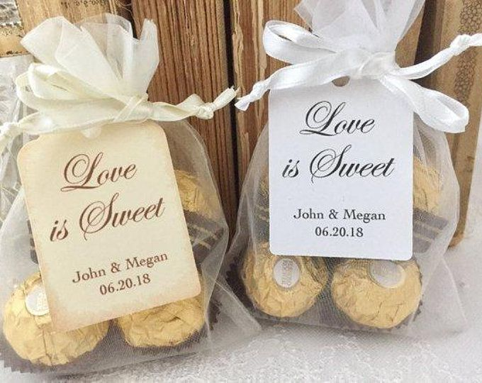 Personalized Wedding Favors, Personalized Wedding Favor Bags, Organza Bags and Tags, Set of 10 #personalizedwedding
