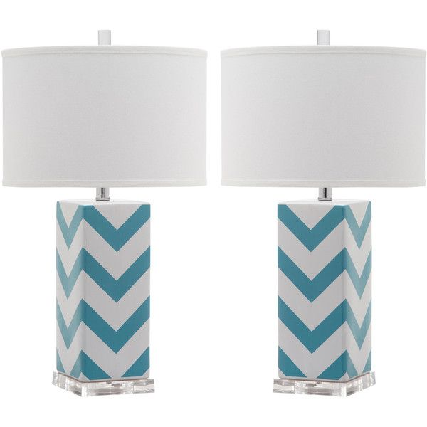 Set of two chevron stripe table lamps in light blue design by set of two chevron stripe table lamps in light blue design by safavieh featuring polyvore aloadofball Gallery