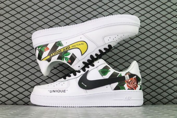 los angeles d327a 4da58 Buy DUMR x Custom Nike Air Force 1 Low Floral Rose Patch Flower White Shoes -2