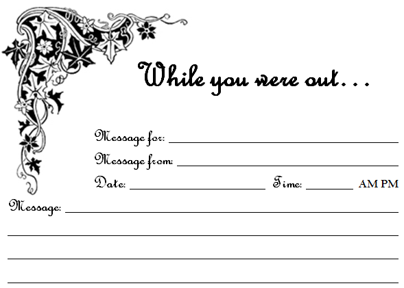 Free Printable While You Were Out Phone Message Sheets  Link