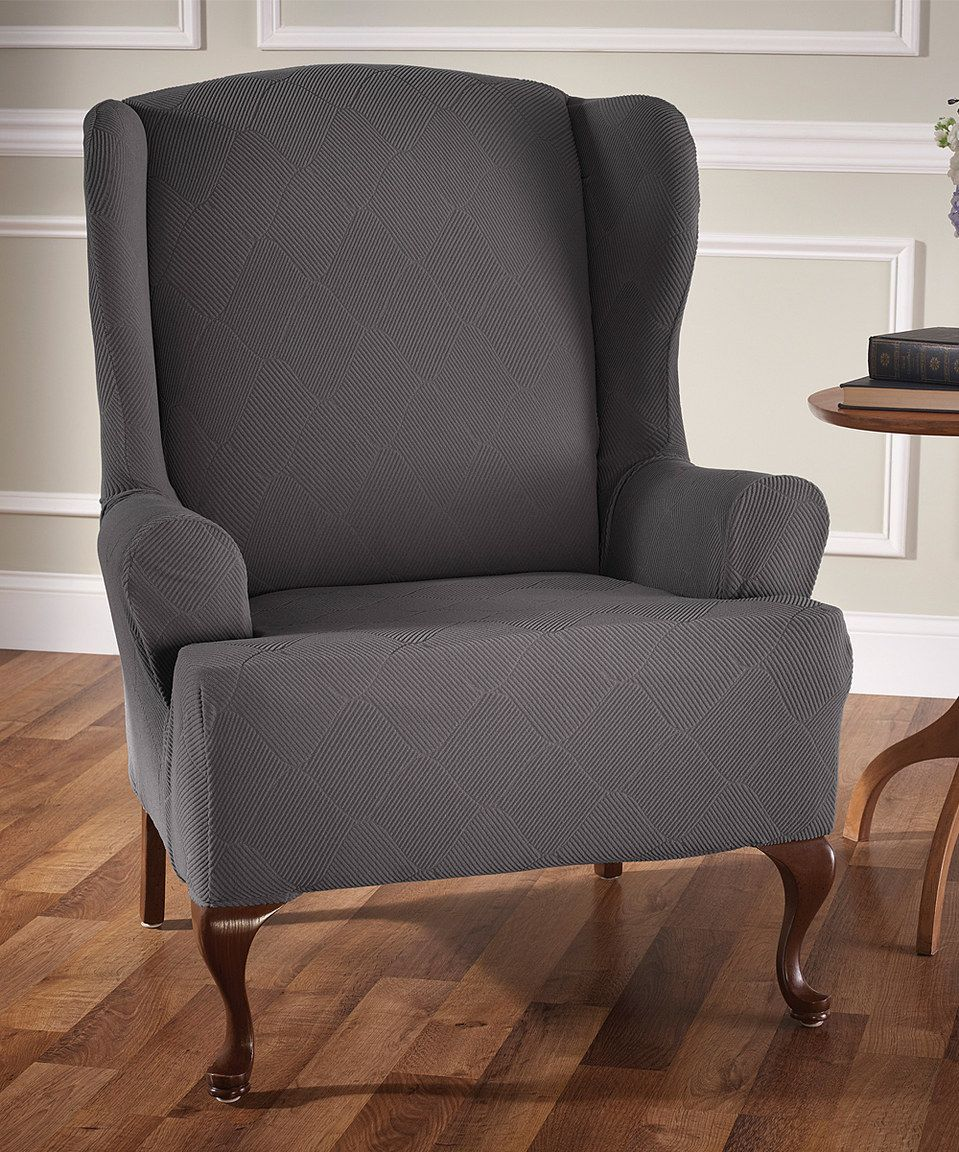 Phenomenal Love This Gray Optics Stretch Chair Cover By Jeffrey Fabrics Gmtry Best Dining Table And Chair Ideas Images Gmtryco