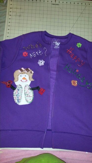 Holiday  ugly Christmas  sweatshirts  completed made especially for my hair stylist sister n law :0)