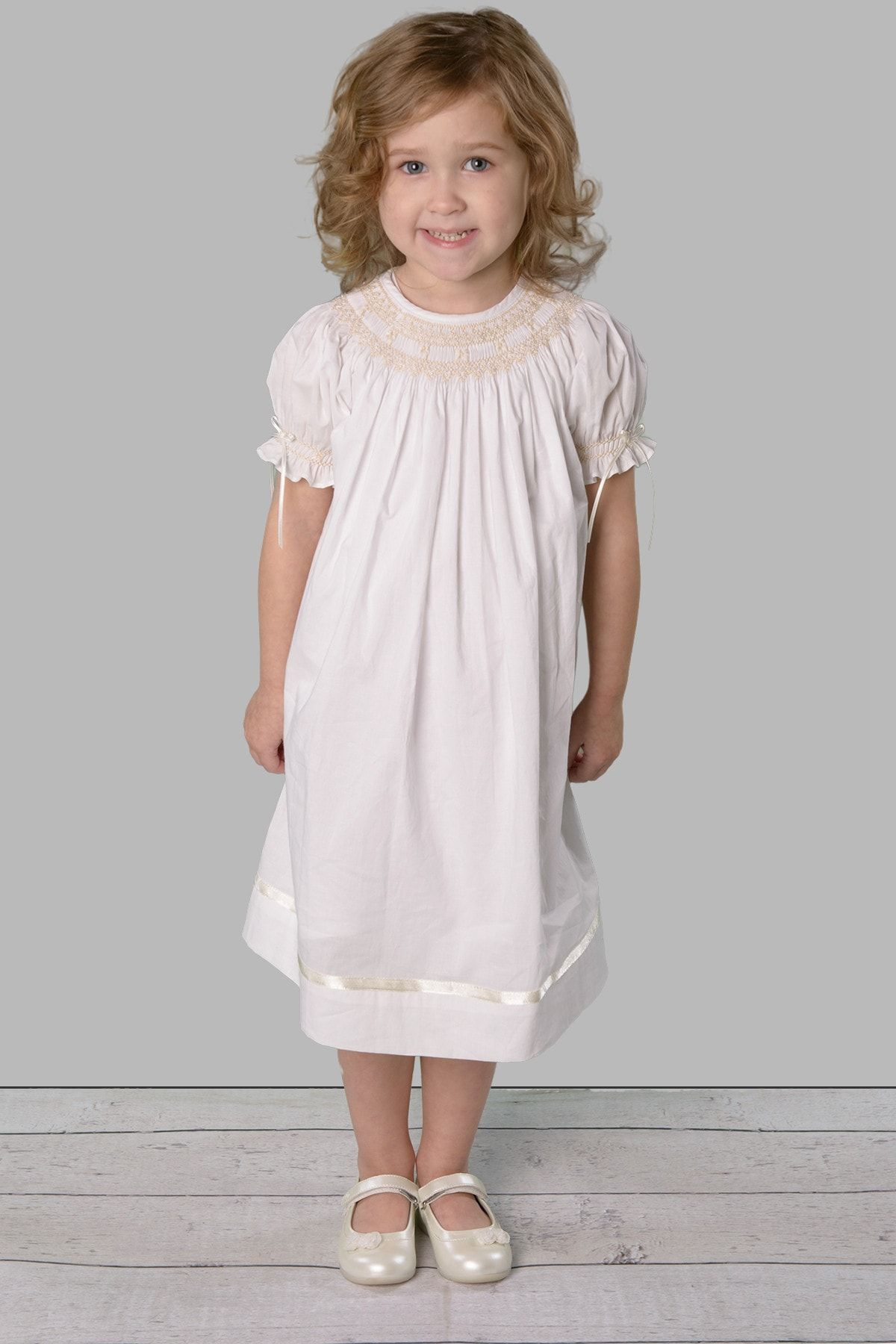 4242aa30907b Cotton white dress hand-smocked and embroidery with pearls and ...
