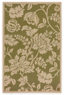 Liora Manné Terracotta Floral 1-Foot 11-Inch x 2-Foot 11-Inch Indoor/Outdoor Accent Rug in Green