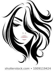 illustration of women short hair style icon, logo women on