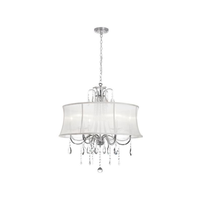 Dainolite 615-270C-PC-119 Formal 6 Light Chandelier Polished Chrome Indoor Lighting Chandeliers