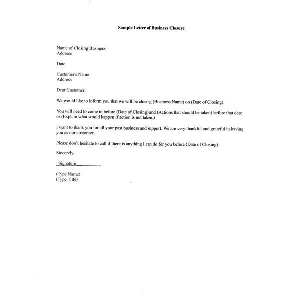 Free Sample Letter Business Closure For Your Partners Customers