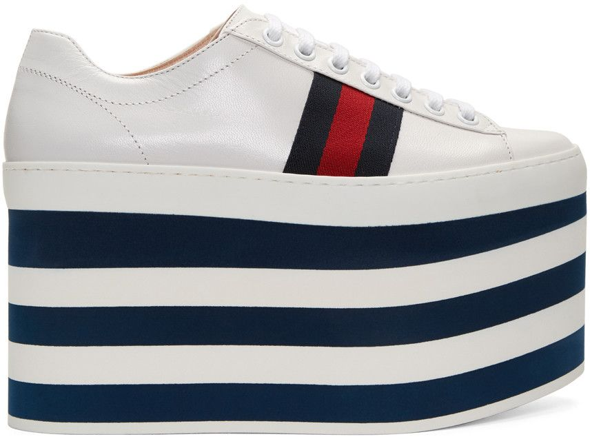 206ccdc2de2 GUCCI White Peggy High Platform Sneakers.  gucci  shoes  sneakers ...