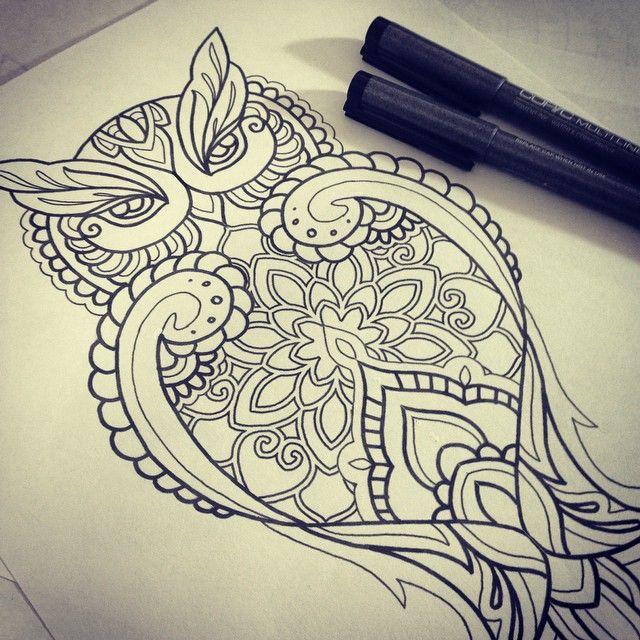 Mandala Owl Google haku Want New Tats Pinterest Weie Tattoos