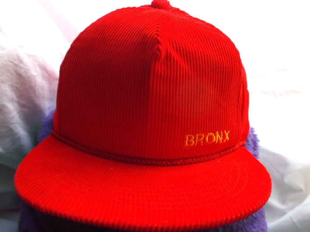 22d3af81e1d90 Vintage Embroidery 1 Size Fits All BRONX red Corduroy Baseball Cap!   BaseballCap