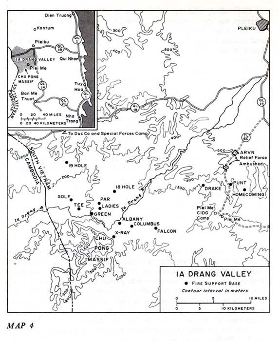 Map Of The Ia Drang Valley With Fire Support Bases Marked Vietnam