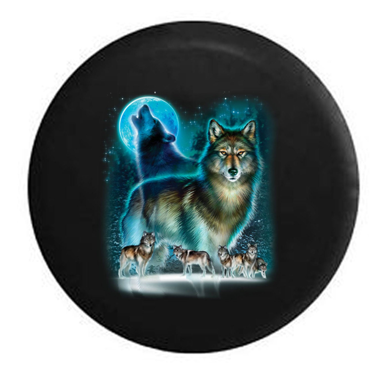 Spare Tire Cover Wild Wolf Howling At Moon With Pack Jeep Tire