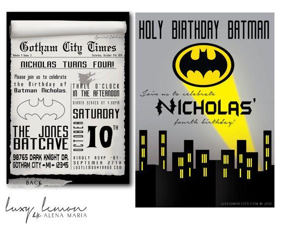 Batman Invitation Batman Invitations Batman Invites Batman Party