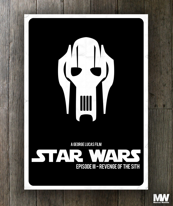 Star Wars Revenge Of The Sith Sith Lord General Grievous Jedi Stormtrooper Lucas Art Art Design Minimalism Mi Star Wars Episodes Lucas Arts Star Wars