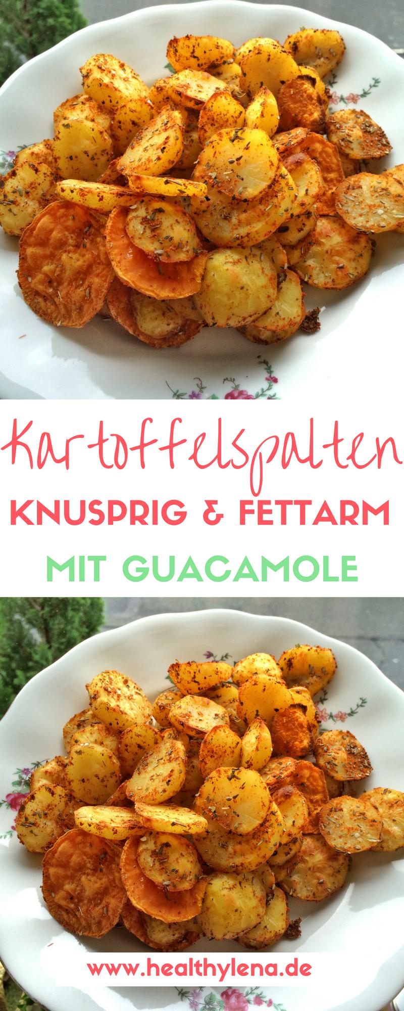 Knusprige fettarme Kartoffelecken mit Guacamole #obstgemüse