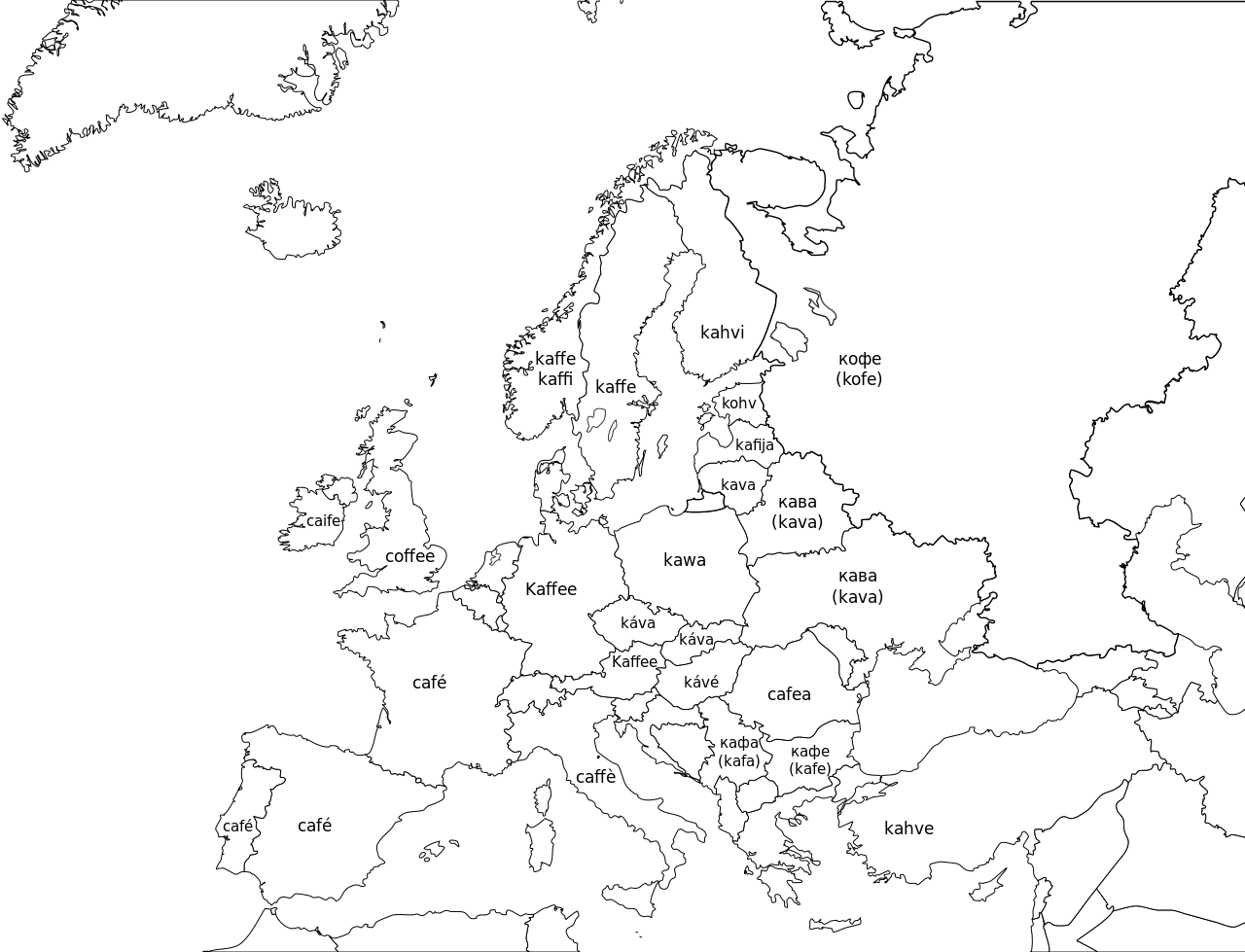 Word For Coffee In Different European Languages MAPS Pinterest - World map uncolored