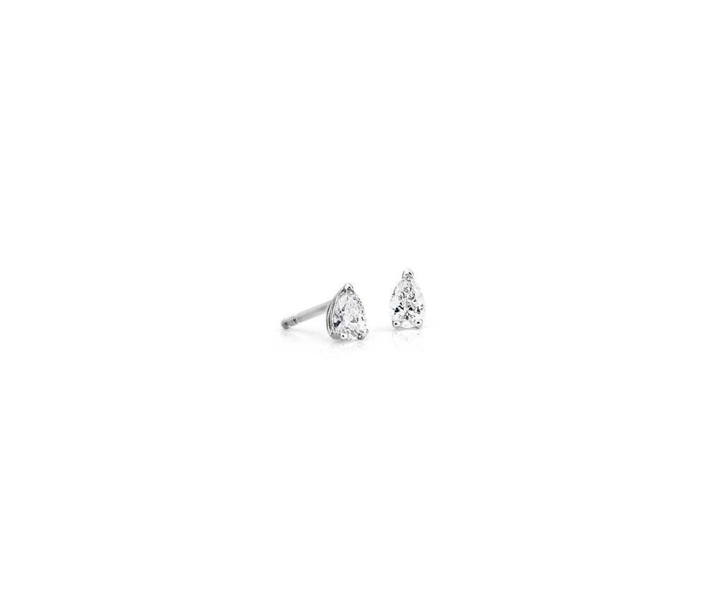 Pear Shape Diamond Stud Earrings In 14k White Gold 1 4 Ct Tw Blue Nile Pear Shaped Diamond Diamond Earrings Studs Stud Earrings