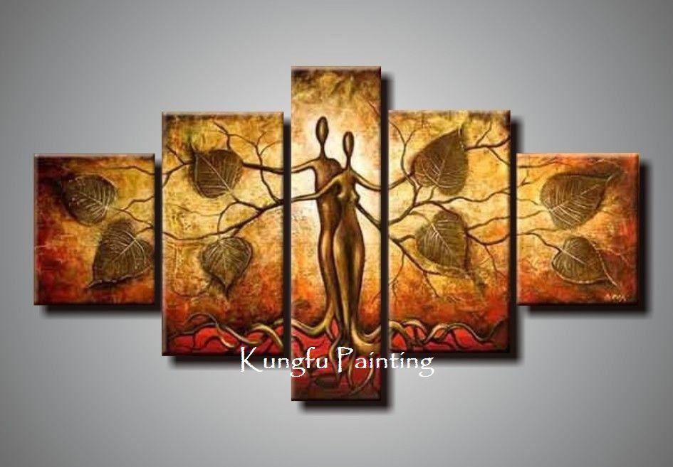100 hand bemalt Rabatt abstrakte 5 panel leinwanddrucke - wohnzimmer bilder abstrakt