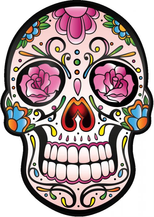 Sticker calavera tete de mort mexicaine 5 ref d7443 mpa déco · sugar hillpop art