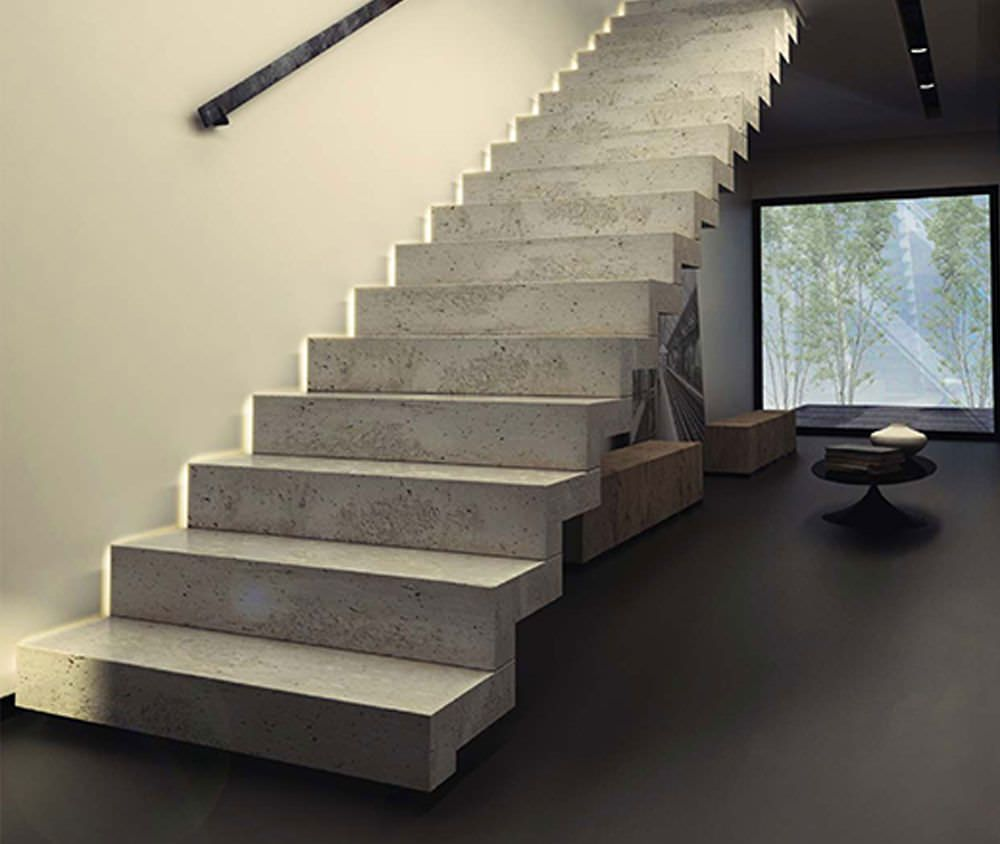 Straight Staircase / Concrete Steps / With Risers KONKRET