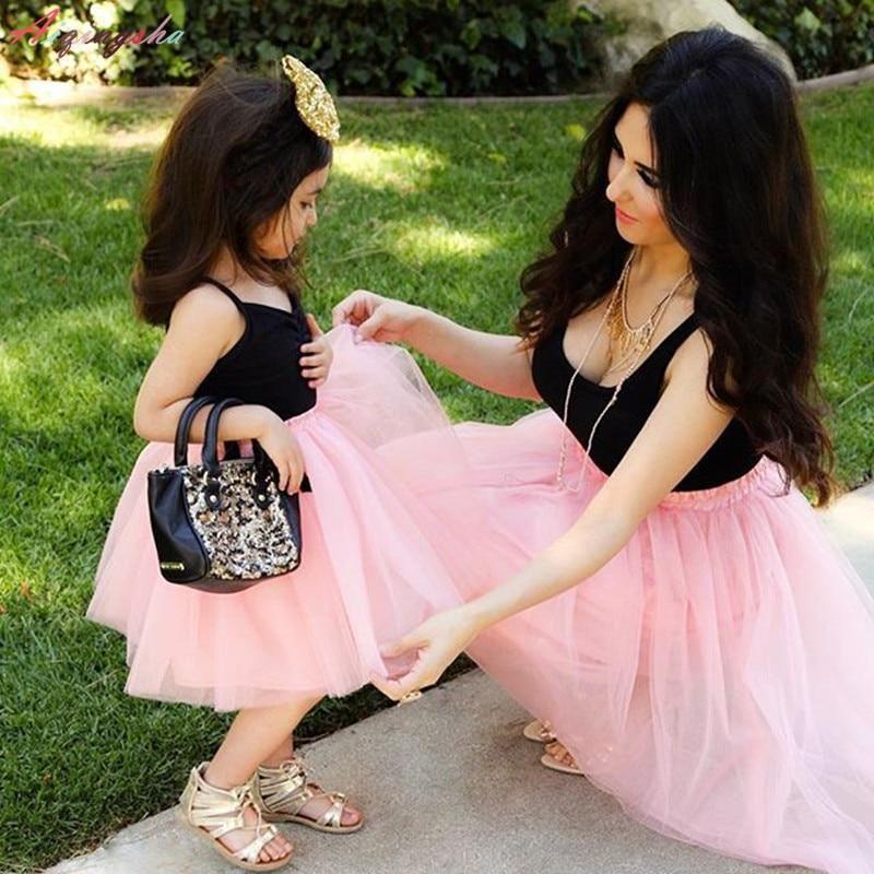 Family Matching Mommy Baby Women Kid Girls Lovely Dress Tulle Tutu Skirt Dress