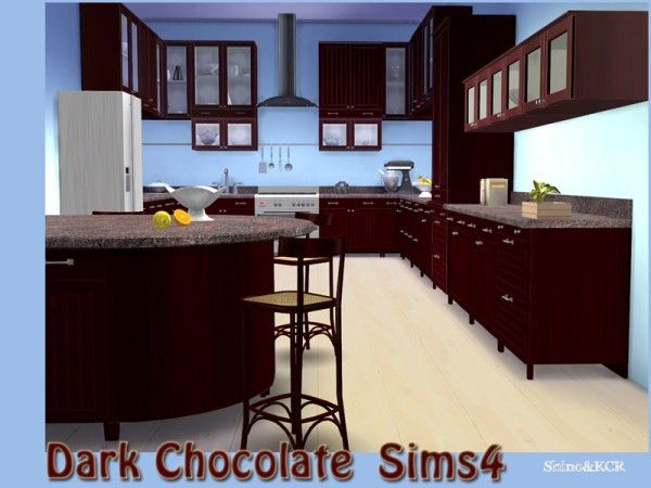 Smeg Kühlschrank Chocolate : The sims resource kitchen dark chocolate by shinokcr u sims