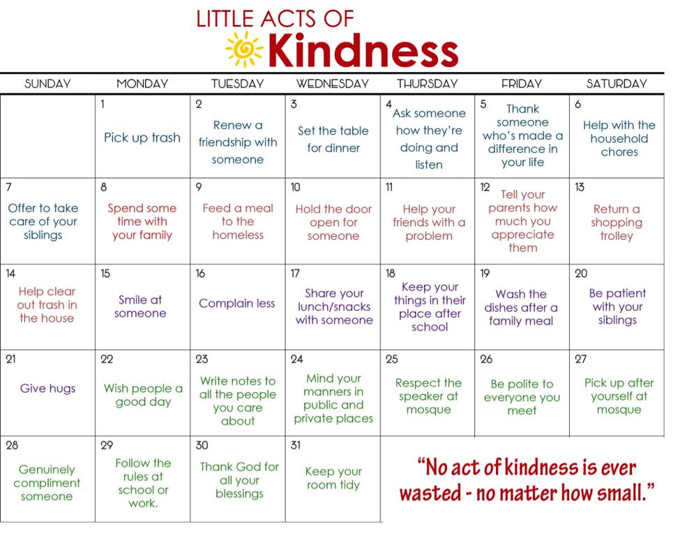 Calendar Activities For Elementary Students : Ramadhan calendar kindness inserts pinterest
