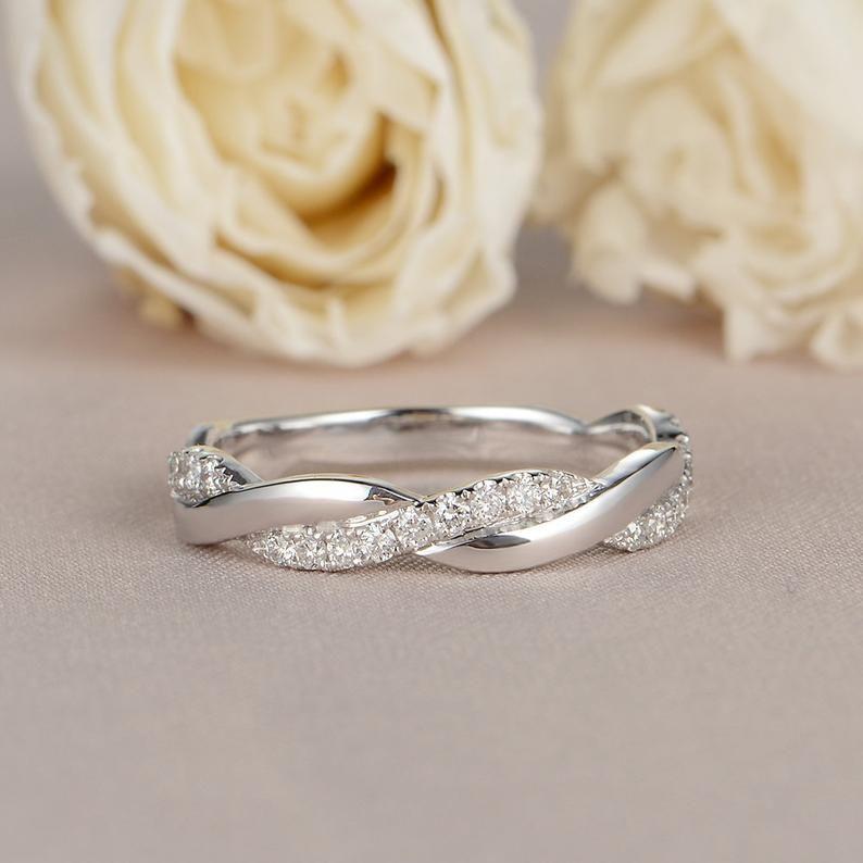 Infinity Ring Twisted Wedding Band Women Diamond Wedding Ring Etsy In 2020 White Gold Wedding Bands White Gold Rings White Gold Diamond Rings