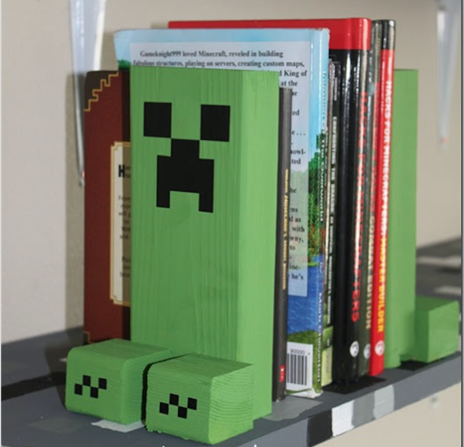 DAY 4 For the creeper in your life make these Minecraft Book Ends