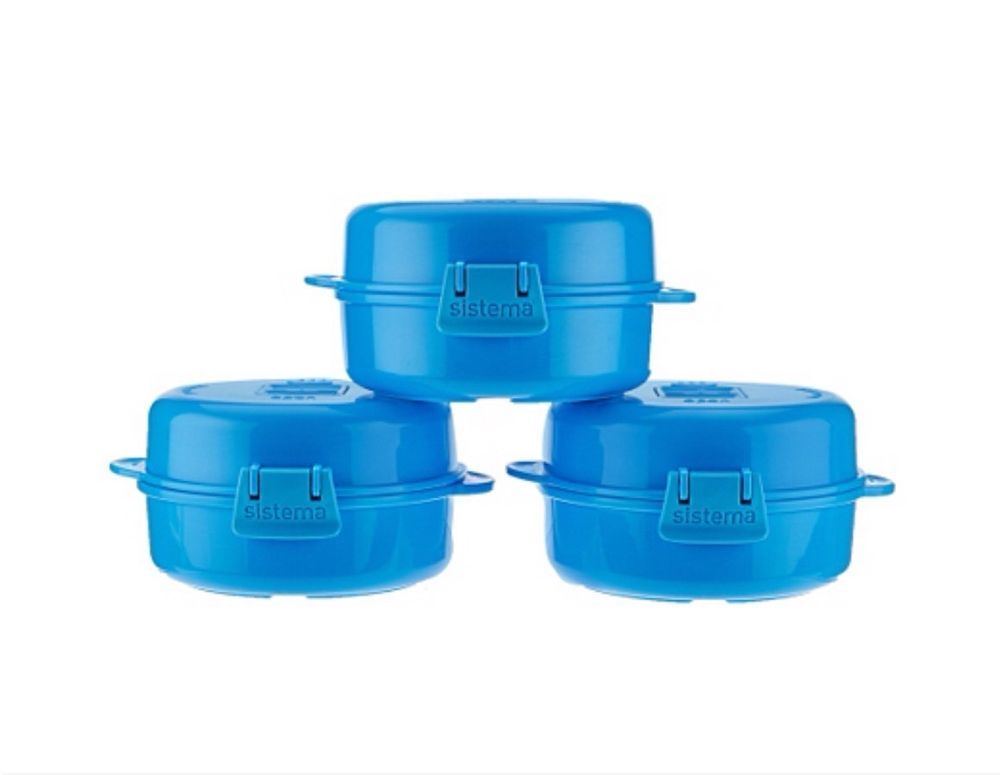 New Sistema Set of 3 Microwave Egg Cookers Blue eBay