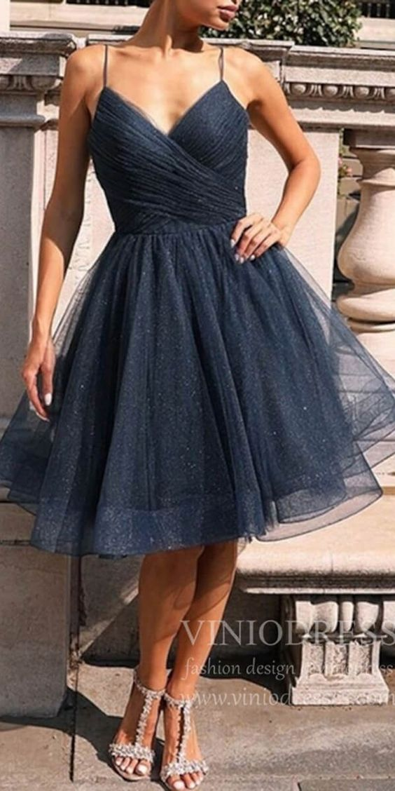 Sparkly navy blue short prom dresses. Cheap spaghetti strap junior homecoming dresses. #graduationparty #backtoschool #shortpartydress #partydresses #homecomingdresses #homecomingdress #homecoming #cocktaildresses